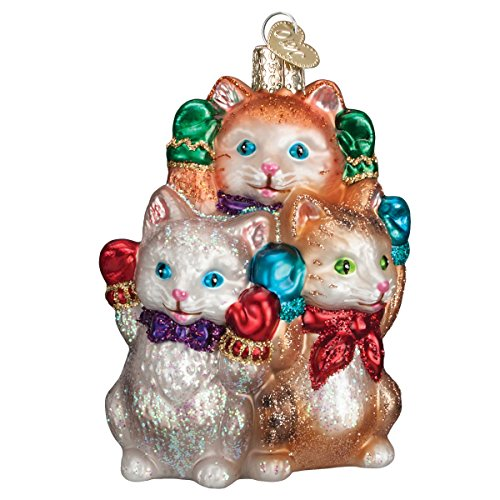 Old World Christmas Three Little Kittens Glass Blown Ornament (Glasses Kitten)