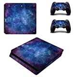 Chickwin PS4 Slim Vinyl Skin Full Body Cover Sticker Decal For Sony Playstation 4 Slim Console & 2 Dualshock Controller Skins (Sky Stars)