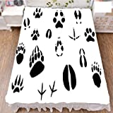 iPrint Bedding Bed Ruffle Skirt 3D Print,Animal Footprints Hooves Claw Silhouettes Ecology,Fashion Personality Customization adds Color to Your Bedroom. by 59''x78.7''