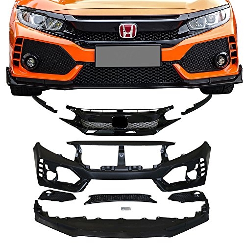 Front Lip Type - IKON MOTORSPORTS Front Bumper + Lip+ Grille Fits 2016-2018 Honda Civic | TR Black PP Injection & ABS 10th Gen Hood Protection Bodykits