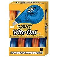 Cinta de corrección correcta EZ de la marca BIC Wite-Out, blanco, 10 unidades
