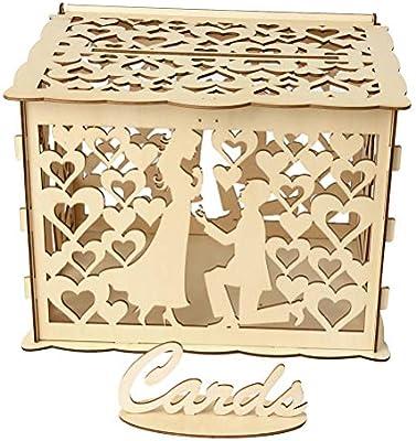 Amosfun Caja de Tarjetas de Boda Caja de Tarjetas de Regalo de Madera Caja de Dinero para la recepción Aniversario de Bodas Ducha de bebé Cumpleaños: Amazon.es: Hogar
