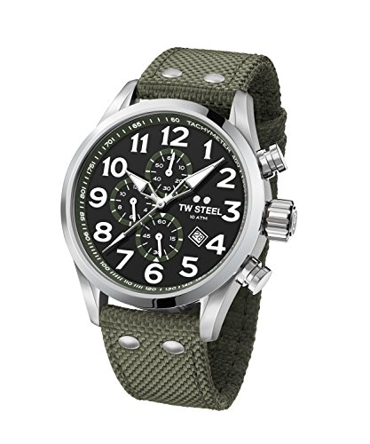 TW Steel Men's 'Volante' Quartz Stainless Steel and Nylon Dress Watch, Color:Green (Model: VS23)