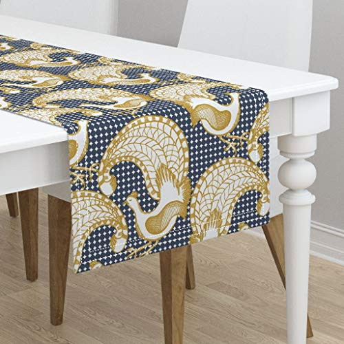 (Table Runner - Birds Illustration Nature by Tamara Design Co - Cotton Sateen Table Runner 16 x 72)