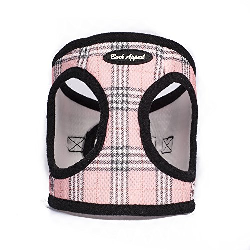Bark Appeal Mesh Step in Harness, X-Small, Pink Plaid