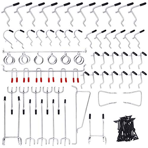 HYRIXDIRECT Pegboard Hooks Assortment 54 Pack 1/8 Inch Peg Board Attachments Pegboard Hooks Set Wall Hooks Storage Garage Organizer with Peg Locks (54 Pack)