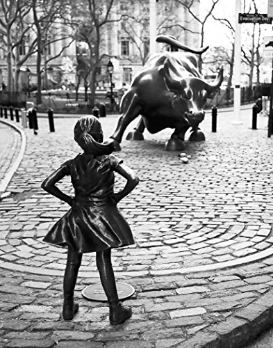 Fearless Girl Print Fearless Girl Poster Wall Street Poster Feminist Decor (11 x 14, Black) ()