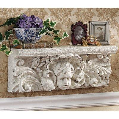 Design Toscano Cathedral Cherub Sculptural Wall Shelf
