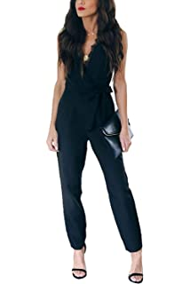 d21a0c268f Assivia Women Printed Strap Sleeveless Casual Wide Long Pants Jumpsuit  Rompers