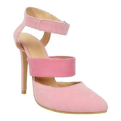 Kolnoo Damen Faschion 13cm Slingback elastische Knöchel Bügel dünne Absatz Sandelholze Pink EU39 IMezGJ