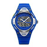 Aposon Kids Dual Time Watch Analog-Digital Watch Military Army Sport Alarm Watch Calendar Round Case Fashion led Watch Athletic Cheap Wrist Watches on Sale for Child 50M 164FT Waterproof-Blue