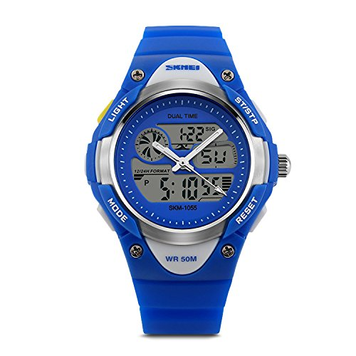 Price comparison product image Aposon Kids Dual Time Watch Analog-Digital Watch Military Army Sport Alarm Watch Calendar Round Case Fashion led Watch Athletic Cheap Wrist Watches on Sale for Child 50M 164FT Waterproof-Blue