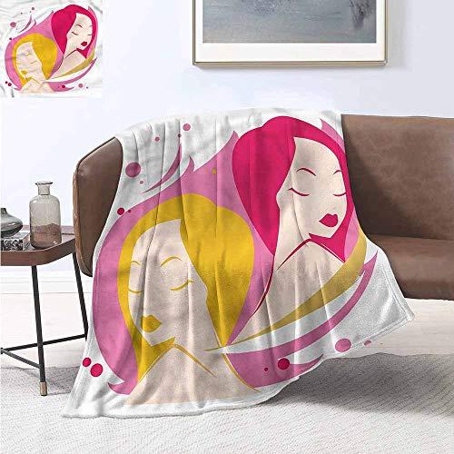 HCCJLCKS Sofa Blanket Zodiac Gemini Feminine Artful Plush Throw Blanket W54 xL84 Traveling,Hiking,Camping,Full Queen,TV,Cabin