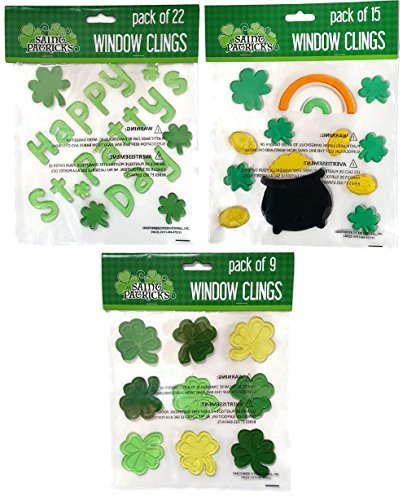 St. Patrick's Day Window Stick-on Gel Clings Bundle 3 Sheets - 46 Pieces Including Shamrocks, Pot of Gold and More (Decorations Gel Window)