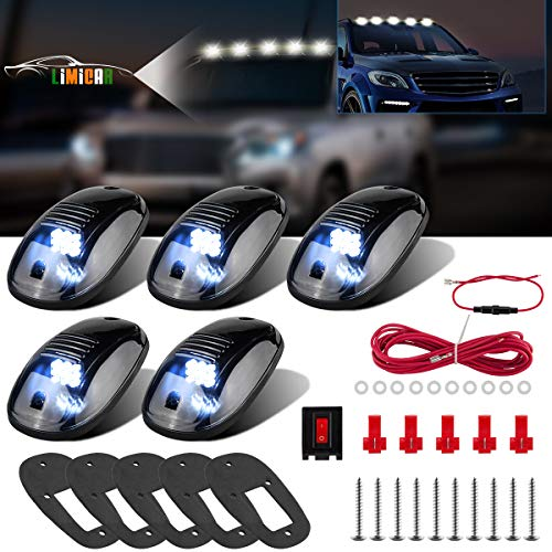 LIMICAR 5PCS Smoke Roof Cab Marker Running Light Covers Top Light White 9 LED Lamp Compatible w/ 03-10 Dodge Ram 1500 2500 3500 4500 5500 2011-2018 Ram 1500 2500 3500 4500 5500 Pickup Trucks