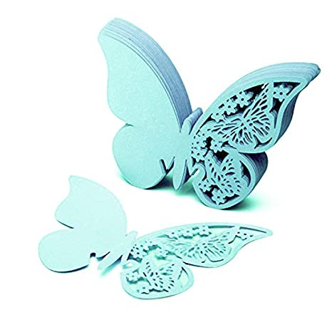 50 tarjetas con forma de mariposa para escribir el nombre de los comensales de una boda, colocar en copas de vino