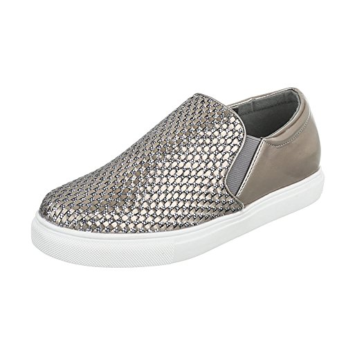 Ital-Design WoMen Slippers Bronze Silber WXY3226