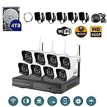 VOYAGEA 8CH 960P NVR wireless monitoring security system NVR Night Vision IP Surveillance Camera Kit waterproof camera 4TB hard disk Wireless Home Surveillance Security Camera A40