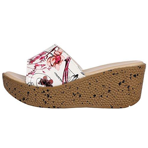 Fereshte Donna Peep Toe Open Back Sandali Con Zeppa Flatforms Pantofole Da Spiaggia Vacanza Fiore Rosso