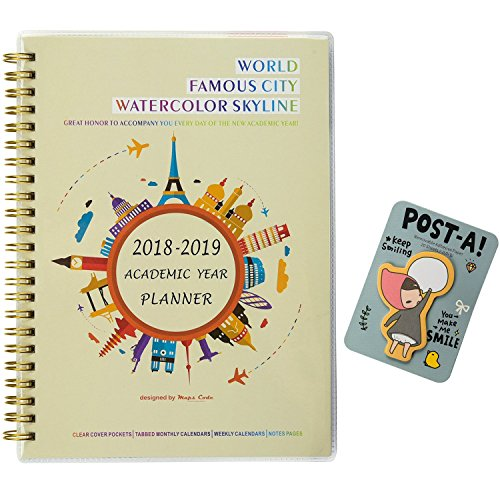 Lay Flat Sticky Pads - Maps Code 2018-2019 Academic Year Planner Monthly & Weekly Calendar Daily Notebook,DIY Cover, Spiral Twin-wire Binding, 5.75