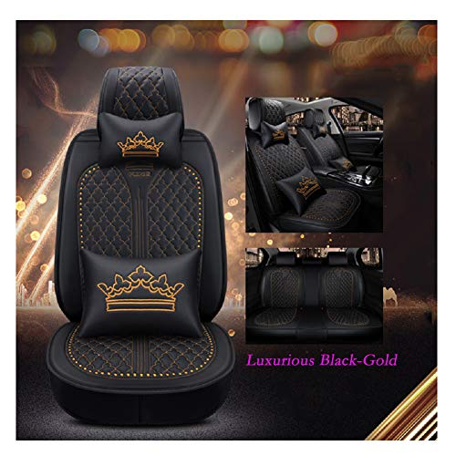 Comfortable Black Red OUTOS Luxury wear-Resistant Leather and Breathable Linen Auto Car Seat Covers 5 Seats Full Set Universal Fit