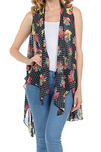 BASICO Women's Open Asymmetrical Hem Print Chiffon Vest Cardigan (One Size, 7002-2 Polka Dots Flowers)