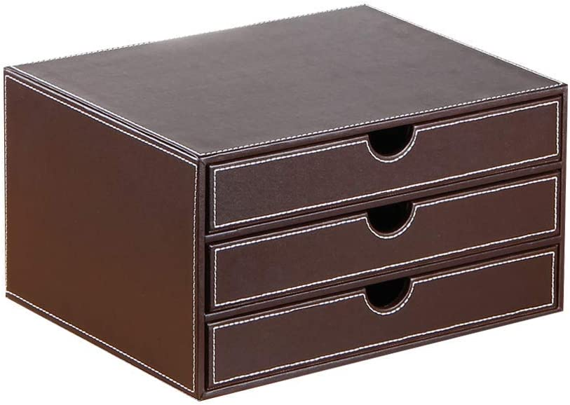 YAPISHI Leather Desk Organizer with 3 Drawers, Executive Office Supplies Desktop Filing A4 File Cabinet/Holder, Stackable Storage Box for Jewelry/Bill/Paper/Documents/Makeup Home Decor Accessories