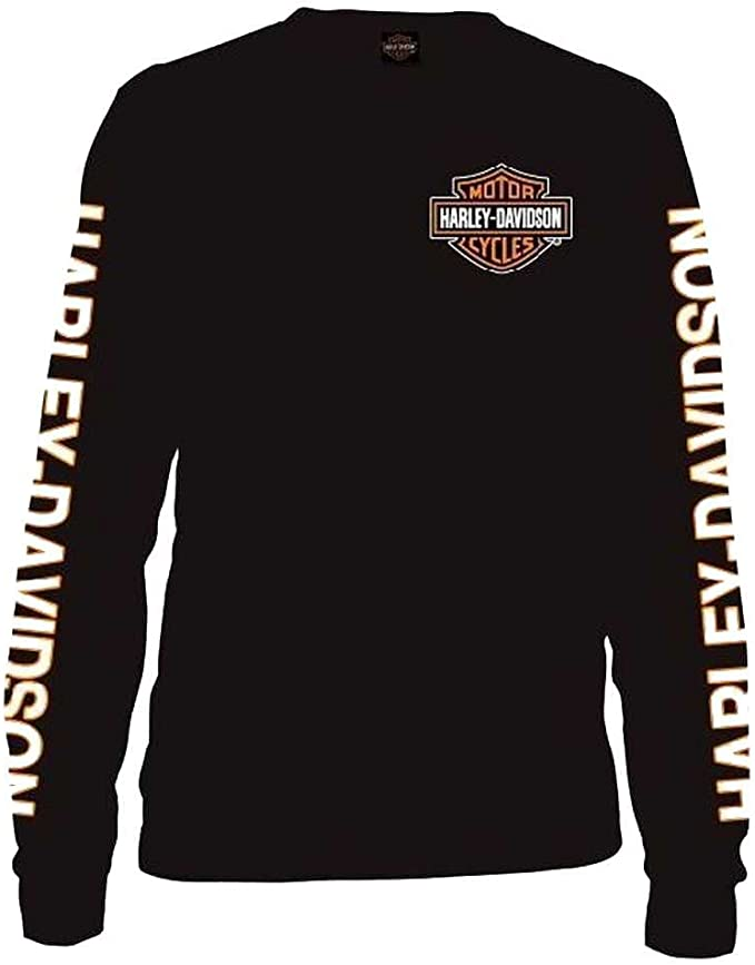 Harley-Davidson Mens Long Sleeve Orange Bar & Shield Black Shirt 30291744: Amazon.es: Ropa y accesorios