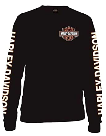 Harley-Davidson Men's Long Sleeve Orange Bar & Shield Black Shirt ...
