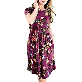 Women's Floral Short Sleeve Tunic Vintage Midi Casual Dress with Pockets