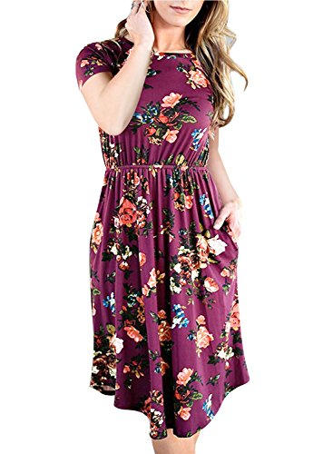 NICIAS-Women-Floral-Short-Sleeve-Tunic-Vintage-Midi-Casual-Dress-With-Pockets