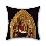 oil painting Nardo di Cione - Madonna and Child Enthroned with Saints Zenobius, John the Baptist, Reparata and John the Evangelist cushion cases 18 x 18 inches / 45 by 45 cm best choice for home office,bedding,dining room,lover,him,club with 2 sides