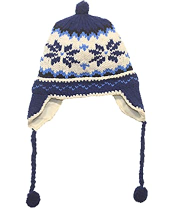 5cdfc835 Amazon.com: Norskwear Handmade Blue Snowflake Hat - Fits Toddlers to Adults  (One Size) - Polar Fleece Lined, Water Repellent Fun Hats: Clothing