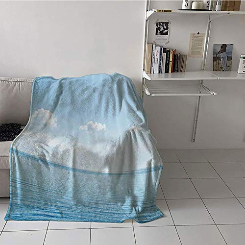 (Khaki home Children's Blanket Chair Print Digital Printing Blanket (60 by 70 Inch,Ocean Decor,Aquatic Seascape with Sky Landscape in Tropical Lands Relaxation Spot in The Coast,Blue White)