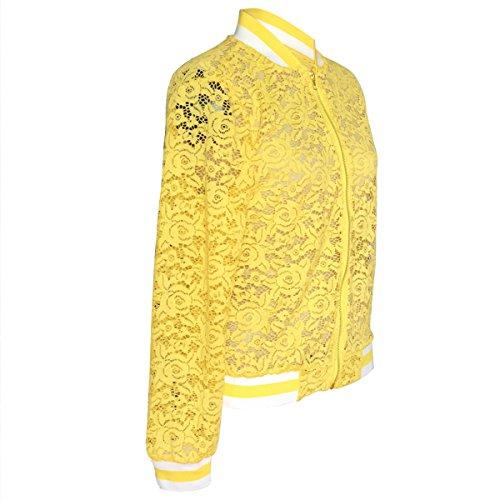 de béisbol hacia béisbol Chaqueta S tamaño hueco ahuecado las bombardero Invierno de Color arriba Yellow floral de ZFFde Chaqueta corto mujeres vZztS
