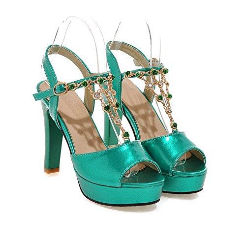 Amoonyfashion Donna Open Toe Fibbia Pu Tacchi Alti Sandali Con Tacco Verde