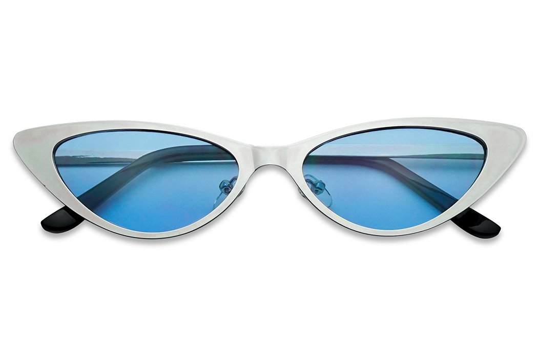 SunglassUP - Flat Full Metal Round Oval Cat Eye Sun Glasses Narrow Color Tinted Shades (Silver Frame | Blue)