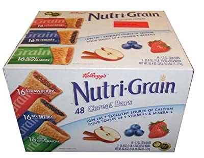 Kellogg's Nutri Grain Cereal Bars 1.3 Ounce 48 Count Variety Pack by Kellogs