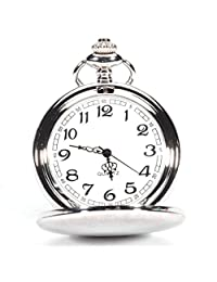 Men's Pocket Watches, Changeshopping Father's Day Smooth Nostalgic Stainless Steel Case Silver Watch