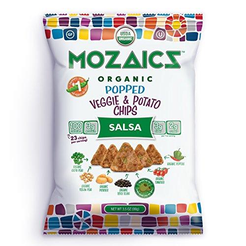 (Mozaics Salsa Organic Popped Veggie Chips- Under 100 Calories, Gluten Free Healthy Snack - Healthier than veggie straws or stix - 3.5oz big bags (Salsa,)