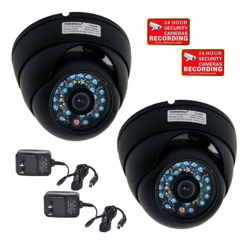 VideoSecu 2 Outdoor IR CCD Security Cameras Day Night 20 Infrared LEDs 480TVL 3.6mm Wide View Lens for Home DVR CCTV Surveillance System with Free Power Supplies and Security Warning Decals CQA