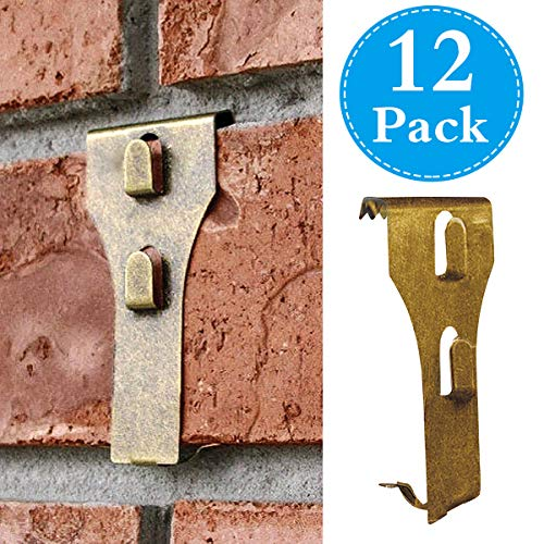 Brick Hooks, Spring Steel Clips Brick Wall Picture Wreath Lights Hanger Fastener Fits Brick 2 1/4 to 2 3/8 in Height 12 Pack