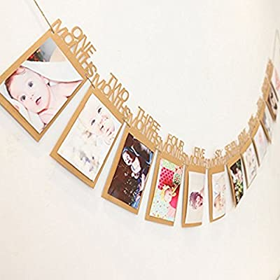 Lindo Cartel de Fotos de 12 Meses, para cumpleaños, Baby ...