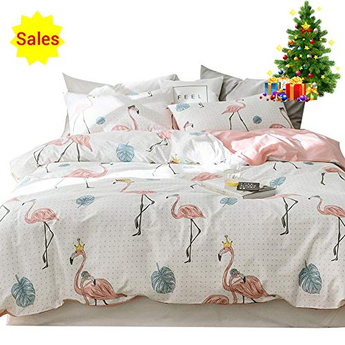 Children Cartoon Flamingo Dot Flower Bed Duvet Cover Set Twin Cotton 100 for Girls Kids Baby Toddler Crib 3 Piece Bird Floral Teen Bedding Sets with 1 Comforter Cover 2 Pillowcases Pink White, Style 2