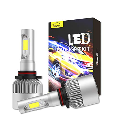 9006/HB4 LED Headlight Bulbs Conversion Kit,ONEWELL 60W 6000K 6000LM Low Beam Extremely Bright Xenon White-Advanced COB Chips Automotive Lighting Conversion Kits (Pack of 2)