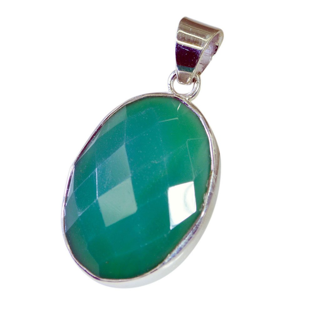 Gemsonclick Real Green Onyx Pendant for Women Sterling Silver Oval Shape Checker Cut Jewelry Necklace