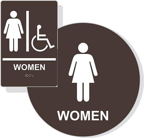 Amazon.com: Ada para mujer Restroom Sign emparejado Set ...
