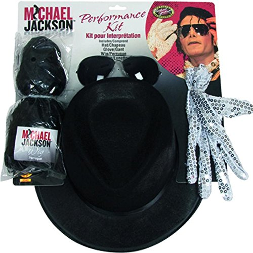 Michael Jackson Costume Accessory Kit with Wig, Hat,