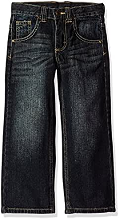 Wrangler Husky Boys' Relaxed Straight Jean, Blue/Black, 8H