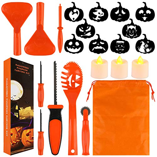 HANSGO Pumpkin Carving Kit for Kids, 22PCS Easy Halloween Pumpkin Carving Tools Set with LED Candles, Carving Stencils, Storage Bag